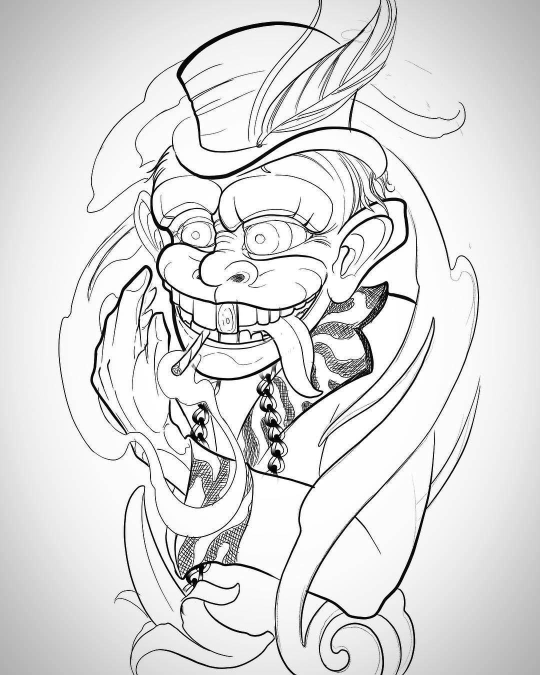 薄先生暗黑猴子纹身手稿
