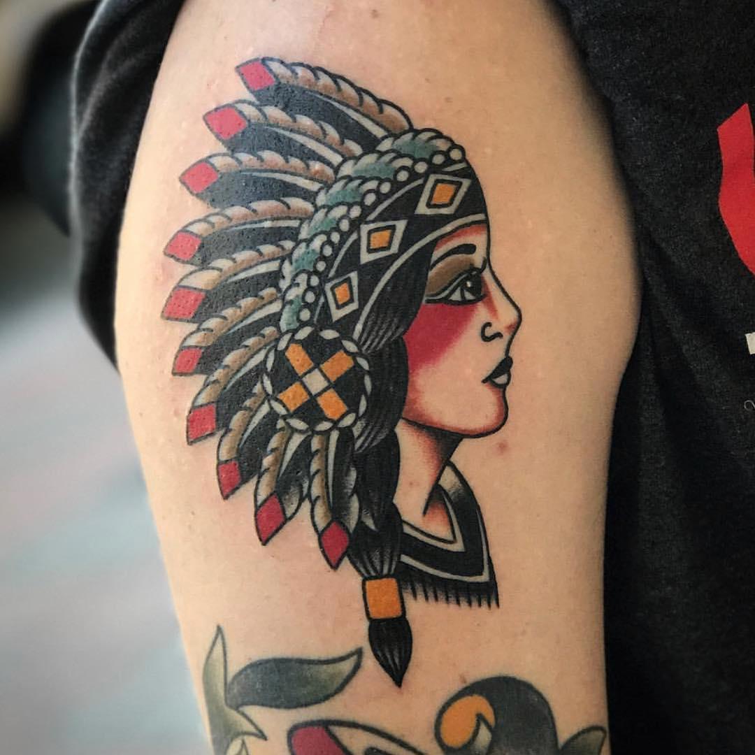 连先生大臂印第安美女纹身图案图片