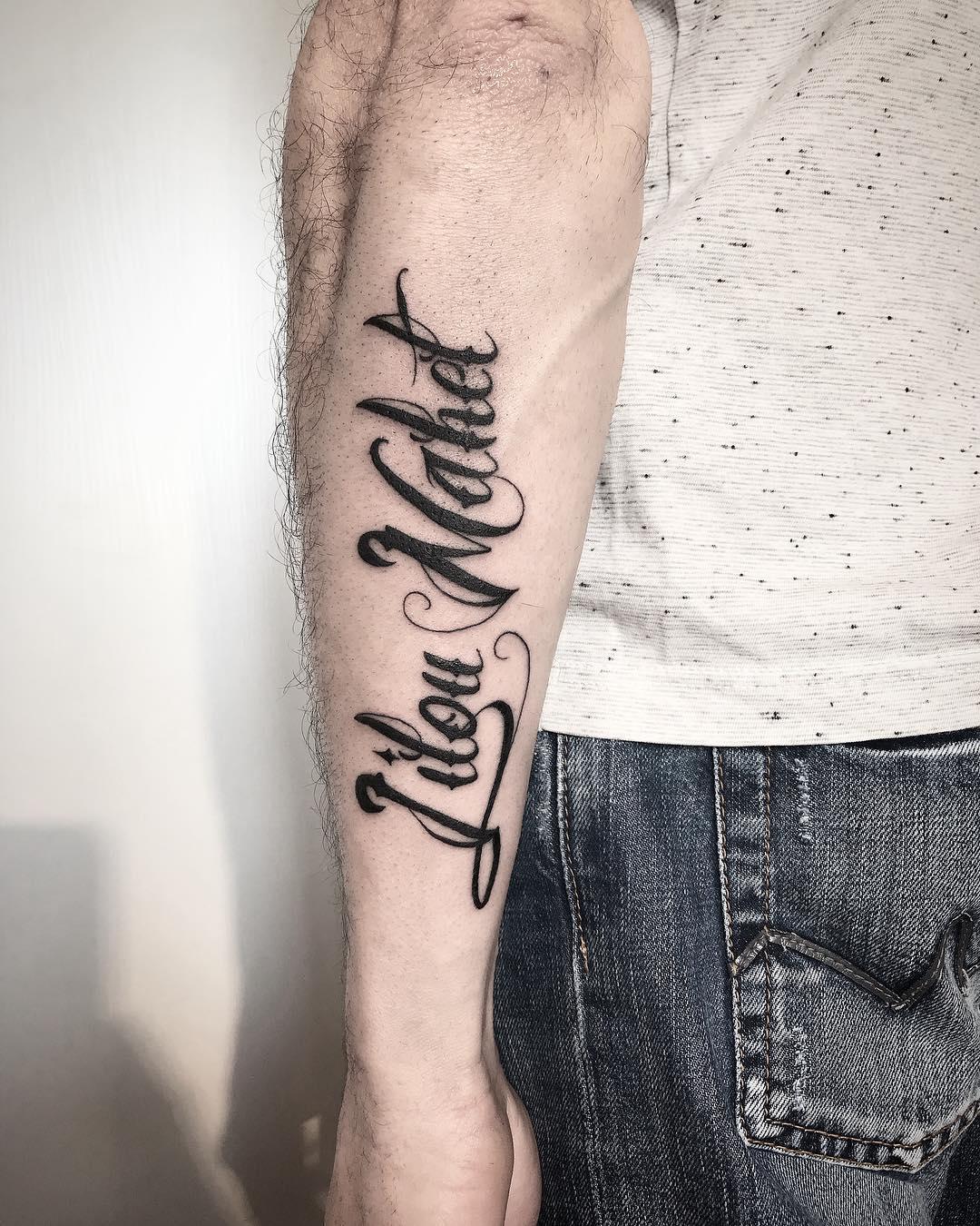 劳先生小臂奇卡诺花体字纹身图案图片