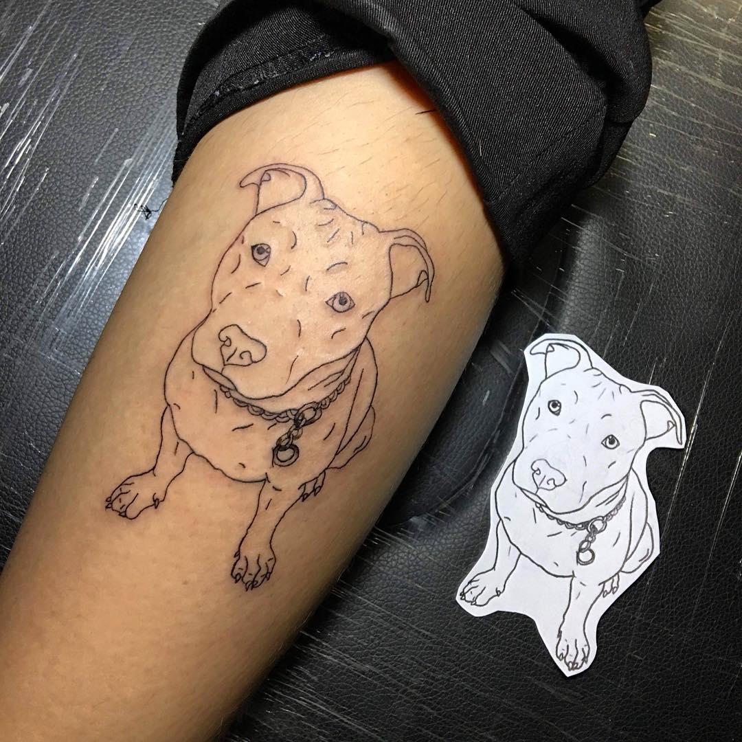 卖蓝猫的欧先生小臂狗狗纹身图案图片